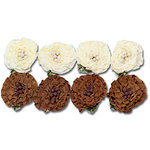 Maya Road - Trinket Blossoms Collection - Ruffle Flowers - Cream and Brown