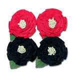 Maya Road - Trinket Blossoms Collection - Medallion Flowers - Red and Black, CLEARANCE