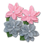 Maya Road - Trinket Blossoms Collection - Felt Pearl Flowers - Pink and Grey, CLEARANCE