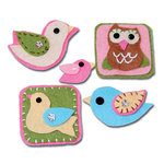 Maya Road - Trinket Badges Collection - Self Adhesive Stitched Felt Pieces with Gem Accents - Birds Of A Feather, CLEARANCE