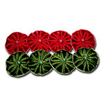 Maya Road - Trinket Blossoms Collection - Velvet Pleated Flowers - Red and Green