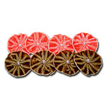 Maya Road - Trinket Blossoms Collection - Velvet Pleated Flowers - Pumpkin and Latte, CLEARANCE