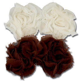 Maya Road - Trinket Blossoms Collection - Organza Roses - Cream and Brown