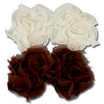 Maya Road - Trinket Blossoms Collection - Organza Roses - Cream and Brown