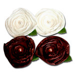 Maya Road - Trinket Blossoms Collection - Satin Posies - Cream and Brown, CLEARANCE