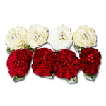 Maya Road - Trinket Blossoms Collection - Ruffle Flowers - Red and Cream