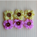Maya Road - Trinket Blossoms Collection - Country Gingham Posies - Yellow and Pink