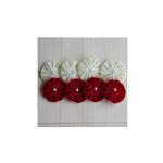 Maya Road - Velvet Pleats - Cream and Red Flowers
