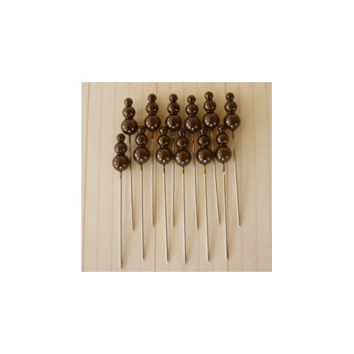 Maya Road - Vintage Trinket Pins - Pearl - Dark Brown