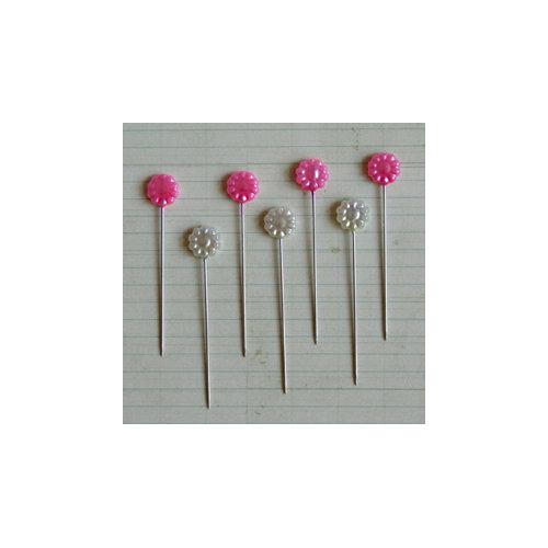 Maya Road - Vintage Trinket Pins - Flower - Pearl - Hot Pink and Cream