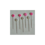Maya Road - Vintage Trinket Pins - Flower - Pearl - Hot Pink and Cream