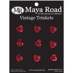 Maya Road - Mini Antique Metal Roses - Cherry