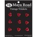 Maya Road - Mini Antique Metal Roses - Cherry