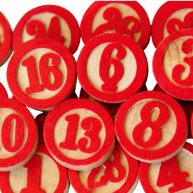 Maya Road - Wood Pieces - Bingo Calendar Numbers - Red, CLEARANCE