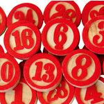 Maya Road - Wood Pieces - Bingo Calendar Numbers - Red, CLEARANCE