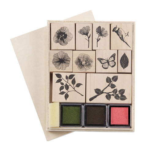 Martha Stewart Crafts - Rubber Stamp and Ink Set - Nature