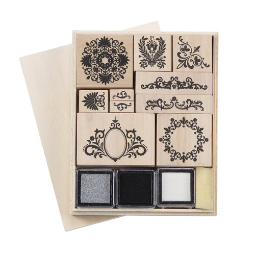 Martha Stewart Crafts - Rubber Stamp and Ink Set - Flourish