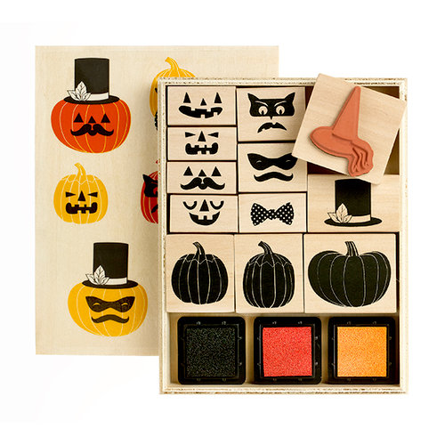 Martha Stewart Crafts - Animal Masquerade Collection - Halloween - Rubber Stamp and Ink Set