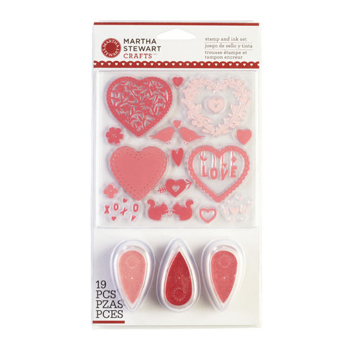 Martha Stewart Crafts - Valentine's Day Collection - Stamp and Ink Set