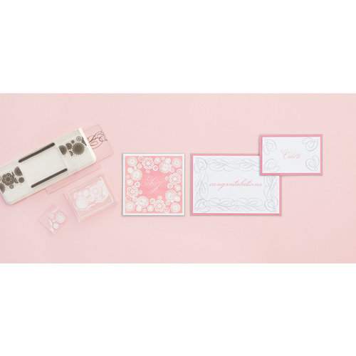 Martha Stewart Crafts - Stitched Collection - Stamp Around the Page - Clear Acrylic Stamps - Calligraphy and Floral Crochet