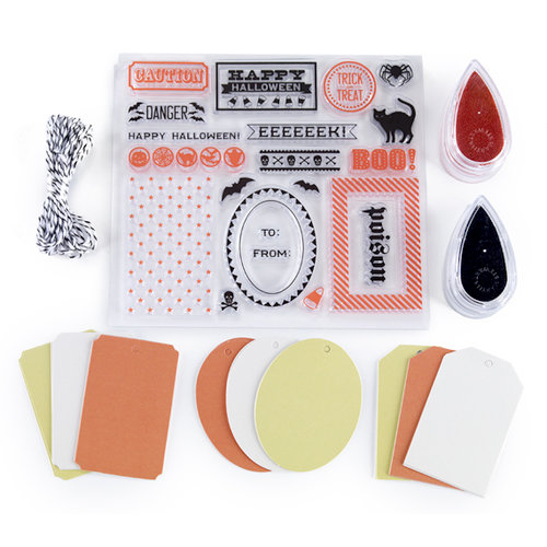 Martha Stewart Crafts - Halloween Collection - Stamp and Ink Set with Tags - Carnival