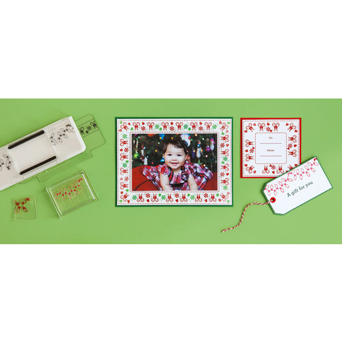 Martha Stewart Crafts - Wonderland Collection - Christmas - Stamp Around the Page - Clear Acrylic Stamps - Wonderland
