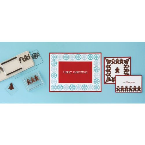 Martha Stewart Crafts - Cottage Christmas Collection - Stamp Around the Page - Clear Acrylic Stamps - Cottage Christmas