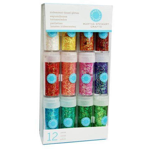 Martha Stewart Crafts - Tinsel Glitter Embellishment Variety - 12 Piece Set - Iridescent