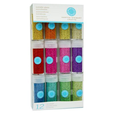 Martha Stewart Crafts - Glass Microbeads Embellishment Variety - 12 Piece Set - Metallic