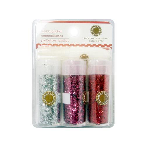 Martha Stewart Crafts - Valentine - Tinsel Glitter Embellishment Variety - 3 Piece Set with Glue