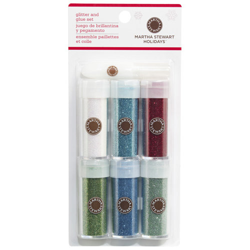 Martha Stewart Crafts - Christmas - Glitter Embellishment Variety - 6 Piece Set with Glue - Winter Wonderland