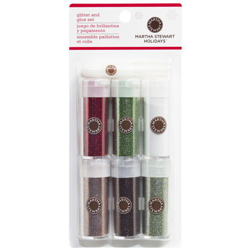Martha Stewart Crafts - Christmas - Glitter Embellishment Variety - 6 Piece Set with Glue - Scandinavian Christmas