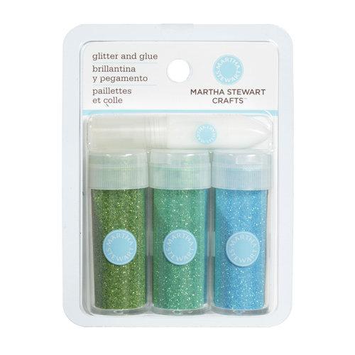Martha Stewart Crafts - Iridescent Glitter Embellishment Variety - 3 Piece Set with Glue - Blue