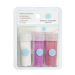 Martha Stewart Crafts - Iridescent Glitter Embellishment Variety - 3 Piece Set with Glue - Pink