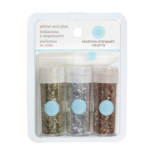 Martha Stewart Crafts - Tinsel Glitter Embellishment Variety - 3 Piece Set with Glue - Metallic