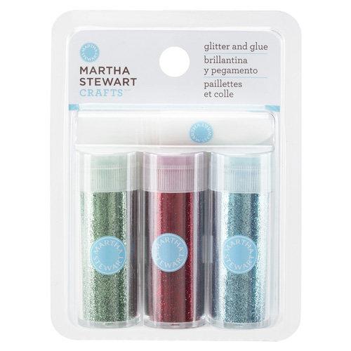 Martha Stewart Crafts - Fine Glitter Embellishment Variety - 3 Piece Set with Glue - Brights