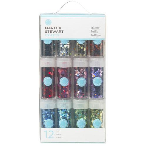 Martha Stewart Crafts - Hexagonal Glitter Embellishment Variety - 12 Piece Set