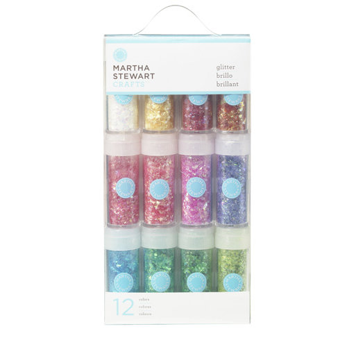Martha Stewart Crafts - Iridescent Glitter Embellishment Variety - 12 Piece Set - Vintage Leaf