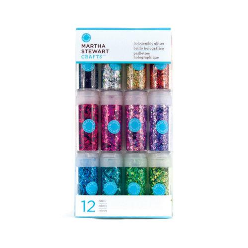 Martha Stewart Crafts - Holographic Glitter Embellishment Variety - 12 Piece Set