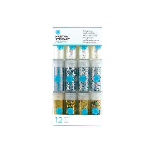 Martha Stewart Crafts - Holographic Confetti Glitter Embellishment Variety - 12 Piece Set - Whites and Metallics