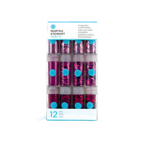 Martha Stewart Crafts - Holographic Confetti Glitter Embellishment Variety - 12 Piece Set - Pinks