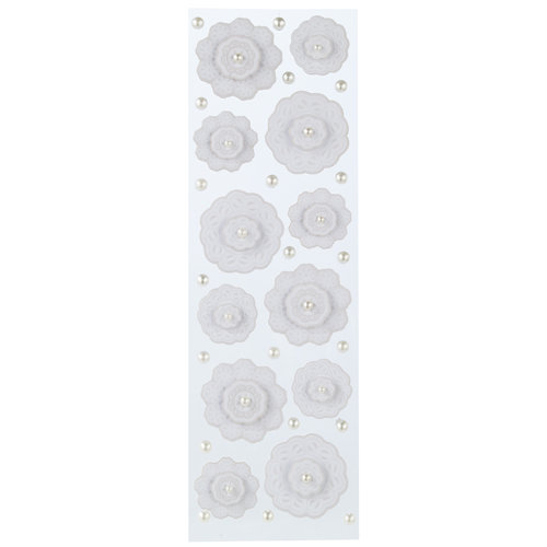 Martha Stewart Crafts - Doily Lace Collection - Layered Stickers with Gem Accents - Doily and Gemstones