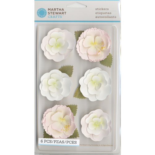 Martha Stewart Crafts - Vintage Girl Collection - 3 Dimensional Stickers - Crepe Paper Flowers - Pink