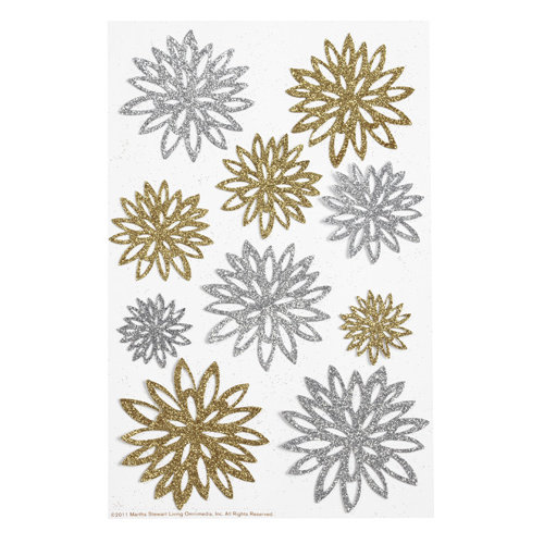 Martha Stewart Crafts - Doily Lace Collection - Stickers - Gold and Silver Chrysanthemum