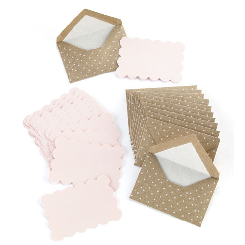 Martha Stewart Crafts - Vintage Girl Collection - Swiss Dot Envelopes - Kraft