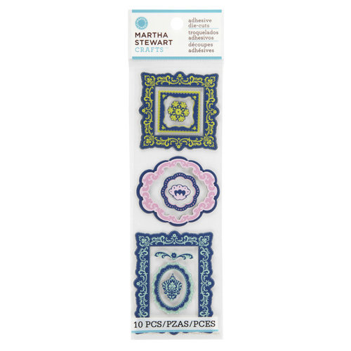 Martha Stewart Crafts - Modern Damask Collection - Chipboard Stickers - Frames
