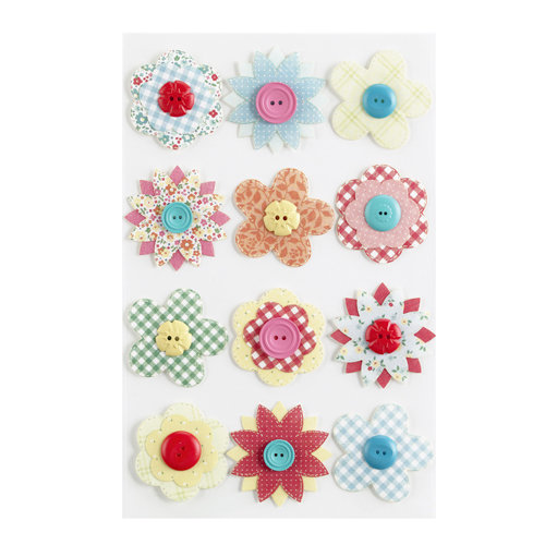 Martha Stewart Crafts - Stitched Collection - Stickers - Button Flowers