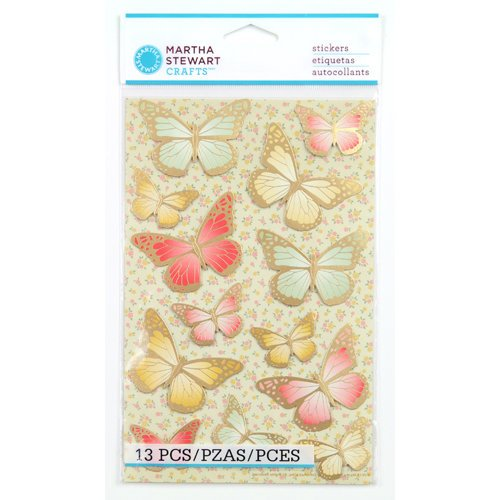 Martha Stewart Crafts - Vintage Collection - Stickers with Foil Accents - Heirloom Butterfly