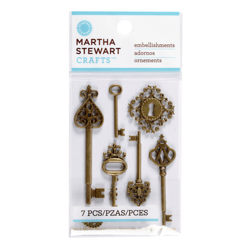 Martha Stewart Crafts - Vintage Collection - Metal Embellishments - Heirloom Key
