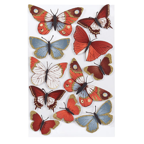 Martha Stewart Crafts - 3 Dimensional Stickers with Glitter Accents - Elegant Nature Metallic Butterflies